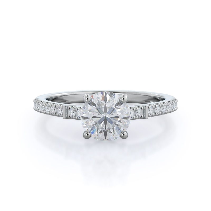 Chic accent diamond engagement ring