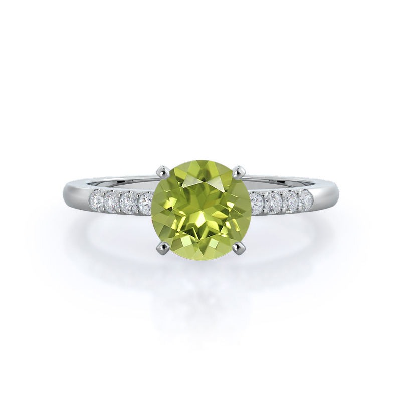 Traditional Pave Peridot Ring