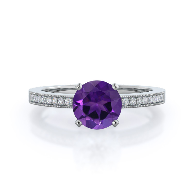 Pave And Milgrain Amethyst Ring