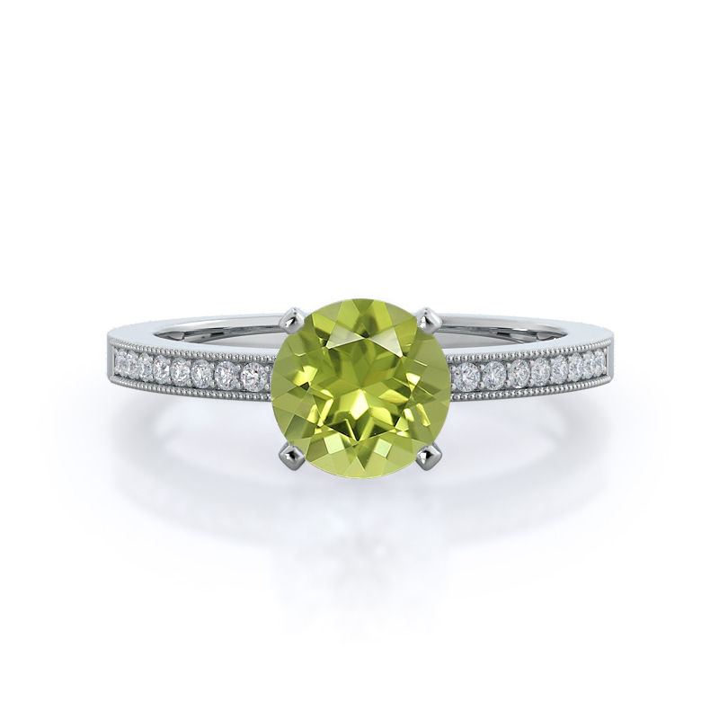 Pave And Milgrain Peridot Ring