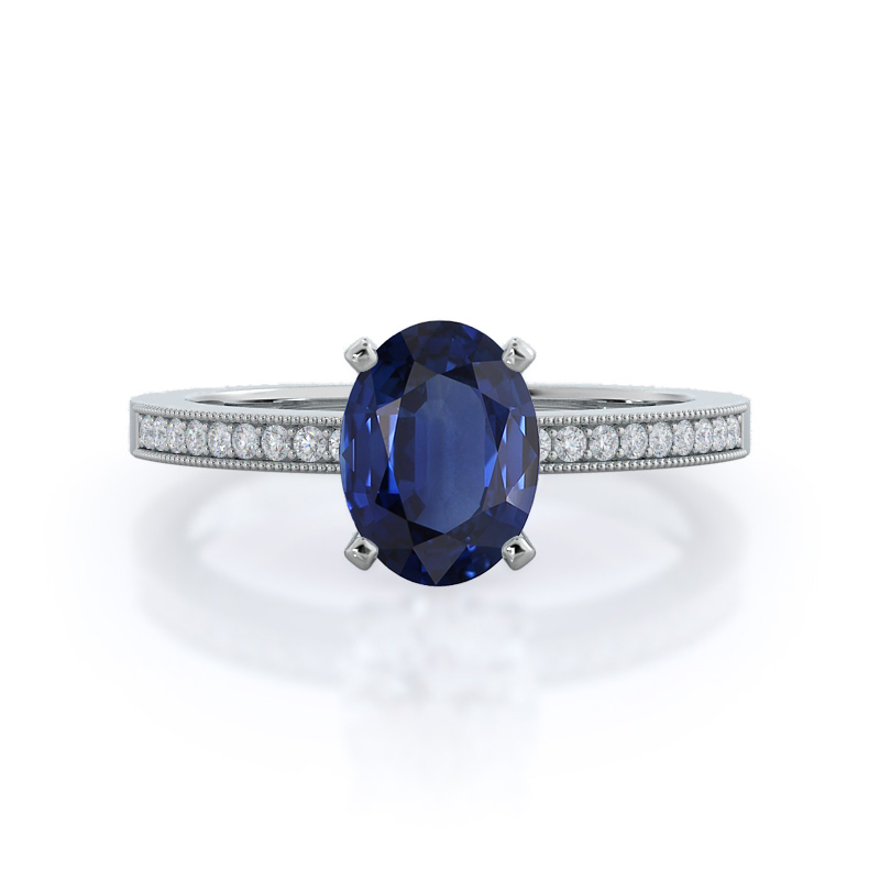 Pave And Milgrain Sapphire Ring