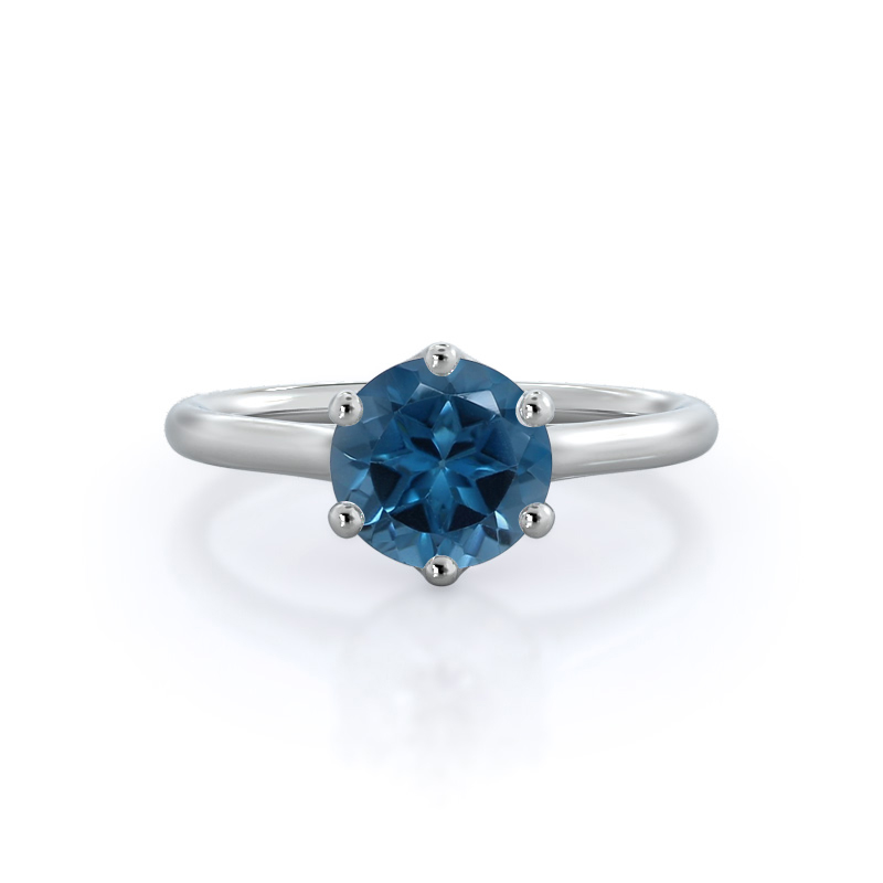 Six Prong Cathedral Basket London Blue Topaz Ring