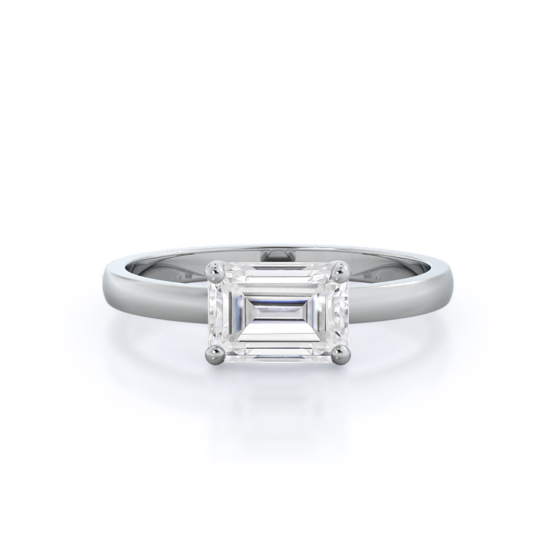 Classic Four Prong East West Moissanite Ring