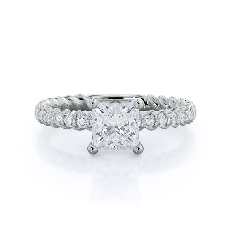 Coil accent diamond engagement ring