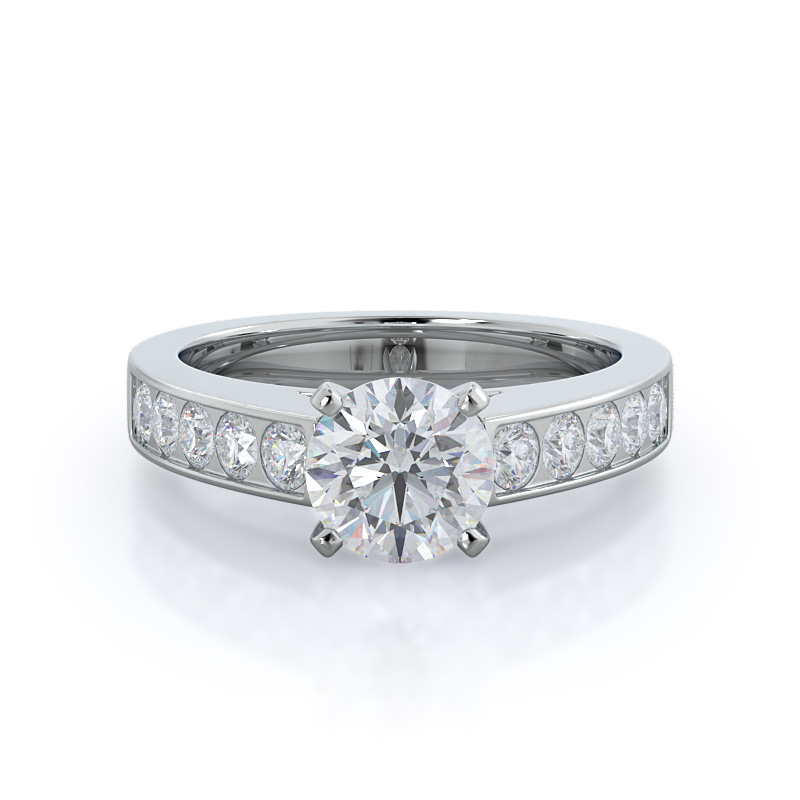Channel set cathedral diamond engagement ring