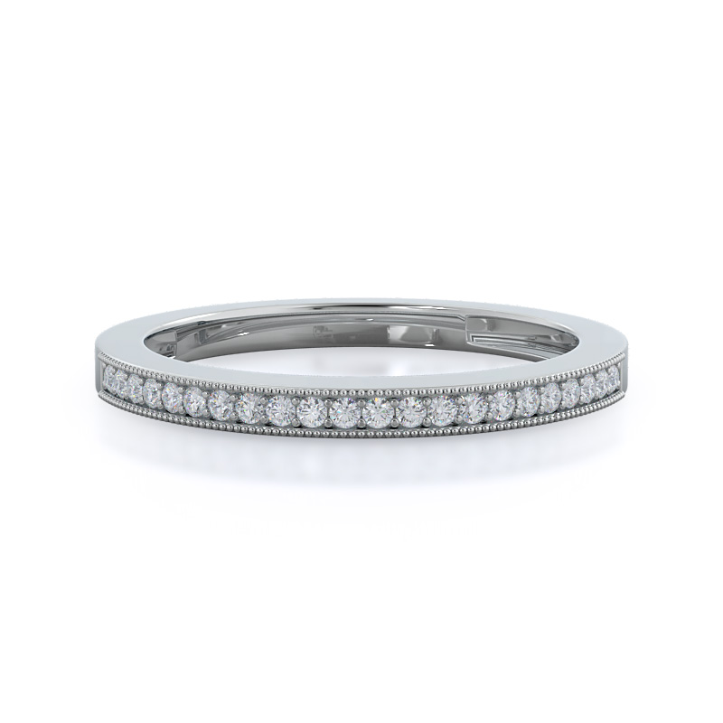 Pave And Milgrain Diamond Wedding Band