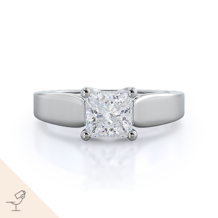 Trellis princess solitaire diamond engagement ring