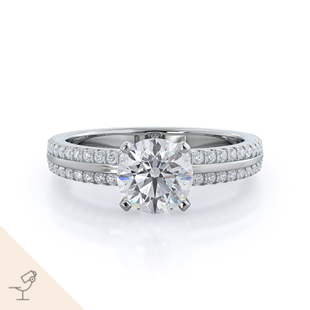 Pave edged diamond engagement ring