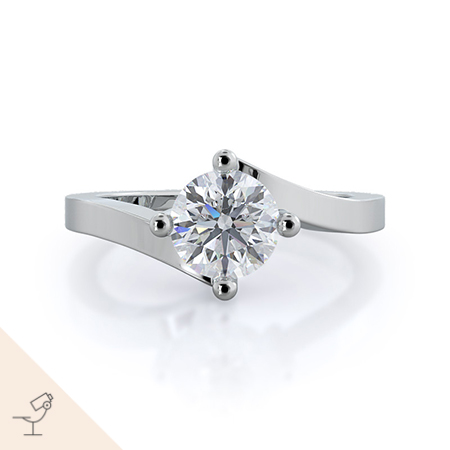 Chic east west solitaire diamond engagement ring