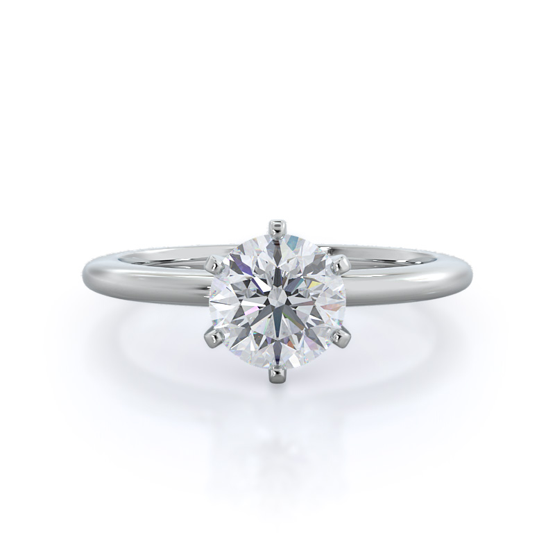 Classic six prong solitaire diamond ring