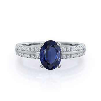 Pave Edged Sapphire Ring