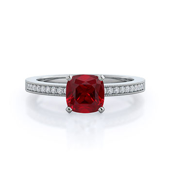 Pave And Milgrain Ruby Ring
